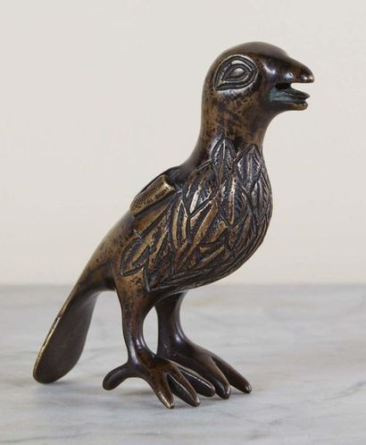 Oiseau, ornement de lustre, en bronze à patine...