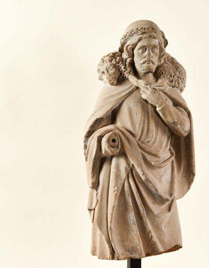 Christ Bon Pasteur en pierre sculptée en...