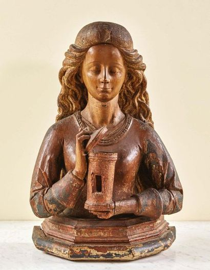 Buste reliquaire de Marie-Madeleine en noyer...