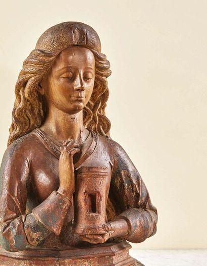 Buste reliquaire de Marie-Madeleine en noyer sculpté avec restes de polychromie...