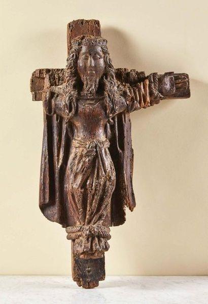 Sainte Wilgeforte en chêne sculpté. La sainte...
