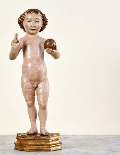 Enfant Jésus bénissant en bois sculpté en...