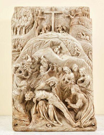 Plaque en albâtre sculpté en fort et bas-relief...