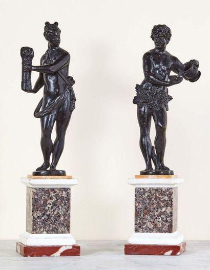 Cérès et Bacchus en bronze à patine noire,...