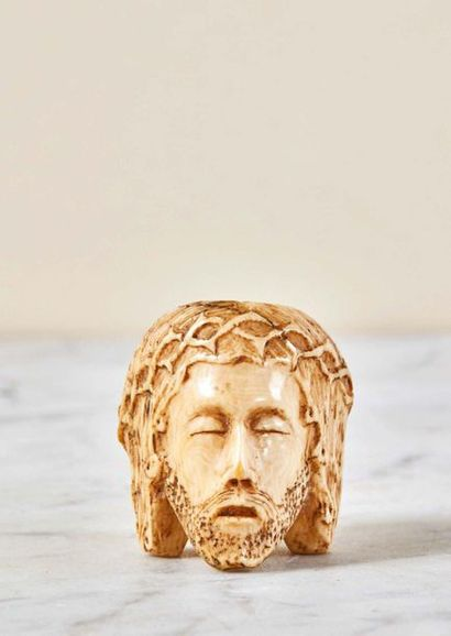 Grain terminal de rosaire en ivoire sculpté...