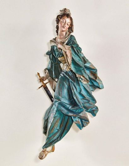 Sainte Catherine en tilleul sculpté, polychromé,...