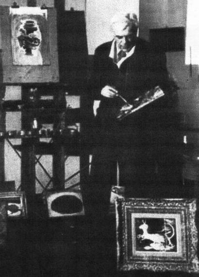 Georges BRAQUE (1882-1963) Le Char de Médée, 1962 Gouache on paper. Signed and dated...