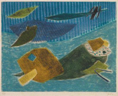 HENRI GOETZ (NEW YORK 1909 - NIZZA 1989) Composizione Incisione al carborundum, firmato...