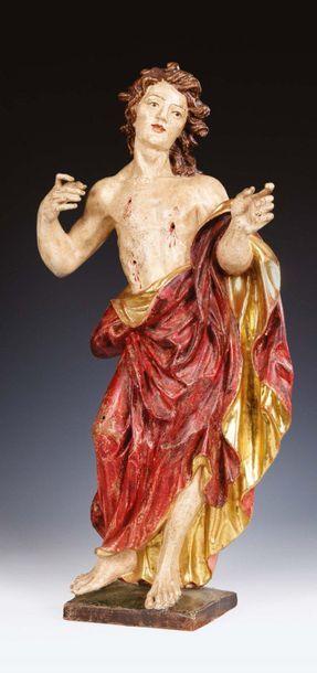 San Sebastiano in legno scolpito a tutto tondo, policromo e dorato Italia del Nord...