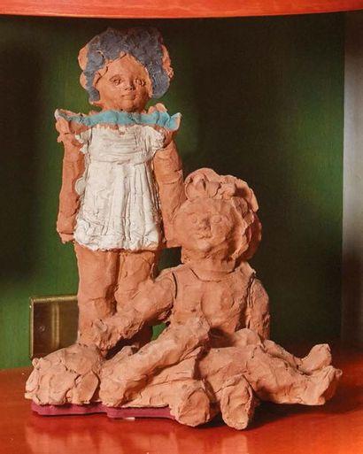 ANTONIO GIANCATERINO (PENNE 1950) Bambole Terracotta policroma Poupées en terre cuite...