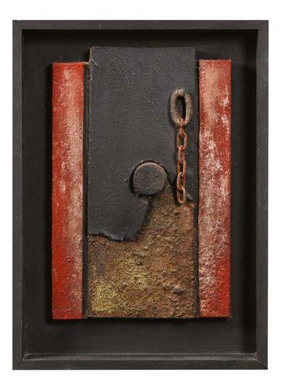 FERRUCCIO BORTOLUZZI (VENEZIA 1920 - 2007) Senza titolo, 1975 Ferro, legno e oro...