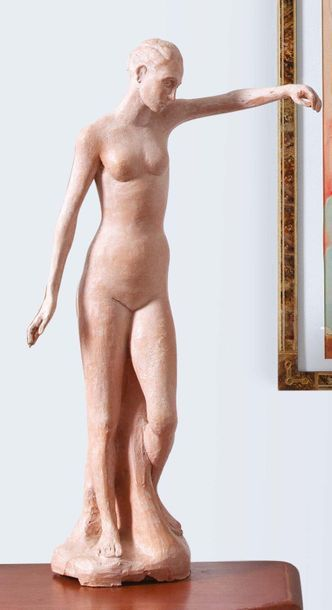 ETTORE GRECO (PADOVA 1969) Nudo femminile accademico Terracotta Firmato Nu féminin...