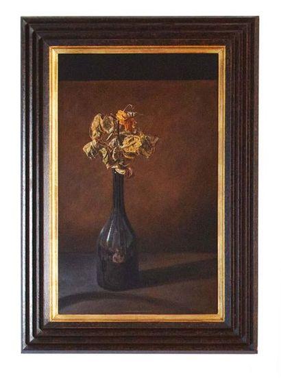 DAVID DALLA VENEZIA (CANNES 1965) Natura morta di fiori in un vaso Olio su tela....
