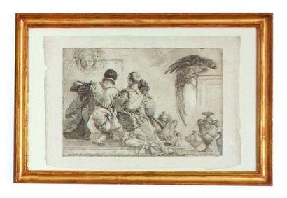 Giandomenico Tiepolo (Zianigo 1727 - Venezia 1804) Paggi, vaso e pappagallo, da Giambattista...