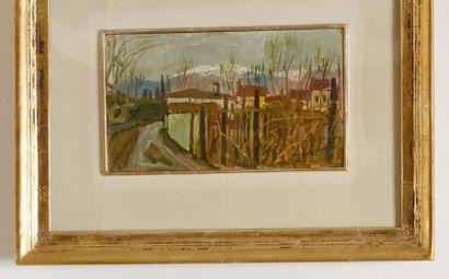 CARLO DALLA ZORZA (VENEZIA 1903-1977) Asolo, 21 gennaio 1956 Olio su cartone Huile...