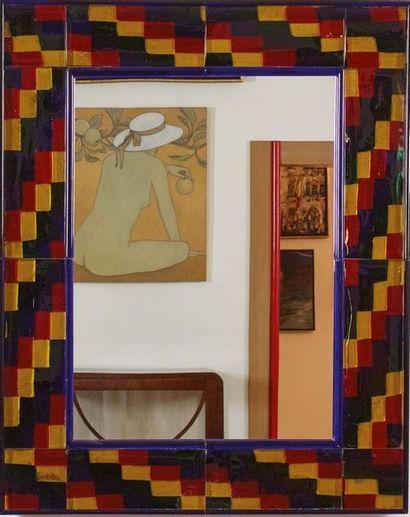 FULVIO BIANCONI (1915-1996) & VENINI Grande specchio rettangolare a motivo di placche...