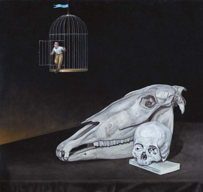 DAVID DALLA VENEZIA (CANNES 1965) Natura morta con gabbia Olio su tela applicata...