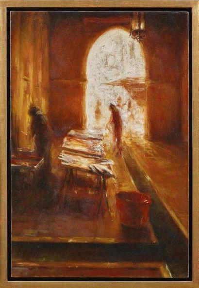PAOLO SMALI (BELLUNO 1969) Venezia, la pescheria Olio su tela Firmato in basso a...