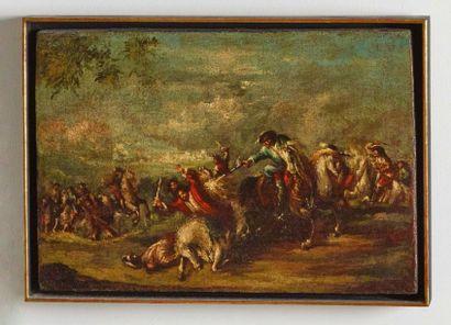 ATTRIBUITO AD ANTONIO MARIA MARINI (VENEZIA 1668 - 1725) Scontro di cavalleria Olio...