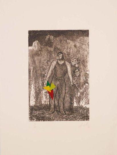 SANDRO CHIA (FIRENZE 1946) Senza titolo Acquaforte e collage, firmato a matita dall'artista...