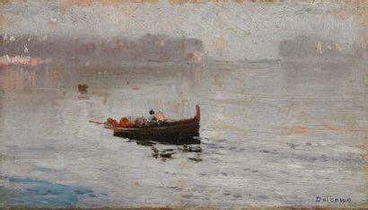 EDUARDO DALBONO (NAPOLI 1841-1915) Barca all'alba Olio su tavola Firmato in basso...