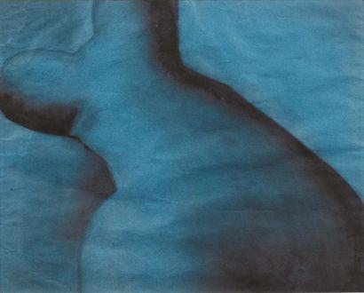 NAPOLEONE MARTINUZZI (MURANO 1892 - VENEZIA 1977) Busto femminile Matita blu e nera...