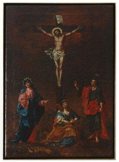 Scuola Austriaca del XVIII secolo Gesù in croce con la Vergine, la Maddalena e san...
