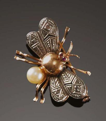 «Mosca», Anni '30 Spilla in oro 18 kt, argento,...