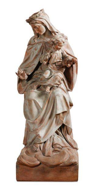 SIENA, DA GIOVANNI PISANO, XVIII SECOLO La Madonna del Rosario, in terracotta con...