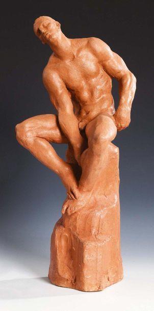 ETTORE GRECO (PADOVA 1969) Atleta seduto con le gambe aperte Terracotta Firmato Athlete...