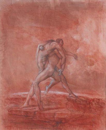 AGOSTINO ARRIVABENE (RIVOLTA D'ADDA 1967) Due figure maschili avvinghiate tra loro...