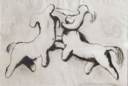 NAPOLEONE MARTINUZZI (MURANO 1892 - VENEZIA 1977) Lotta di centauri Matita nera,...