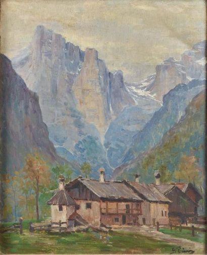 GUIDO PINI (CONEGLIANO 1891 - MILANO 1963) Paesaggio con un picco delle Dolomiti...