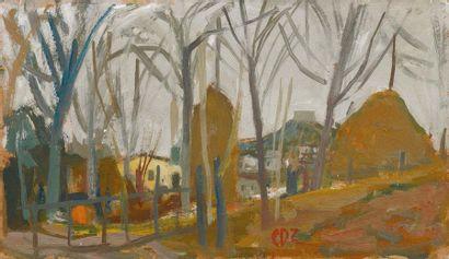 CARLO DALLA ZORZA (VENEZIA 1903-1977) Asolo, 18 marzo 1956 Olio su cartone Monogrammato...