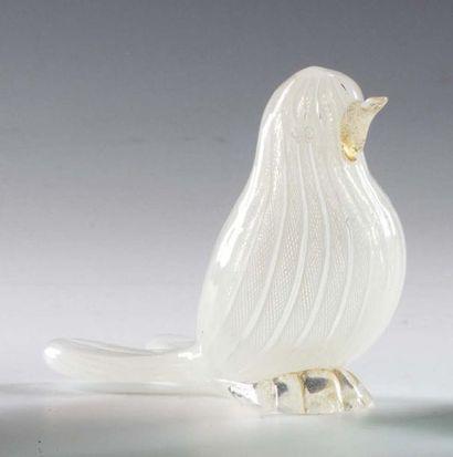FRATELLI TOSO Uccellino in vetro bianco trasparente con inclusione di canne filigranate...