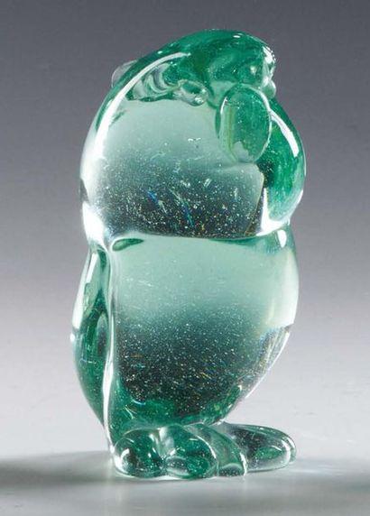 FLAVIO POLI & SEGUSO ARCHIMÈDE (1909-1999) Pappagallo in vetro verde trasparente...