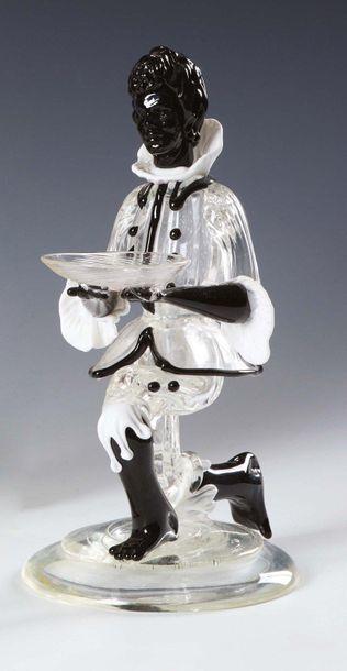 SALVIATI Moretto in cristallo nero e bianco trasparente, con base circolare Moretto...