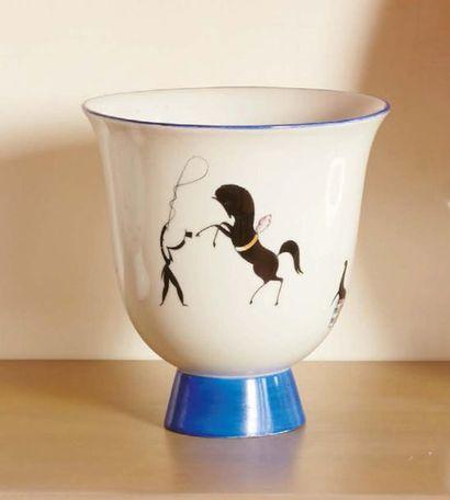 GIO' PONTI (1891-1979) & RICHARD GINORI Coppa «Il Circo equestre» in porcellana decorata....