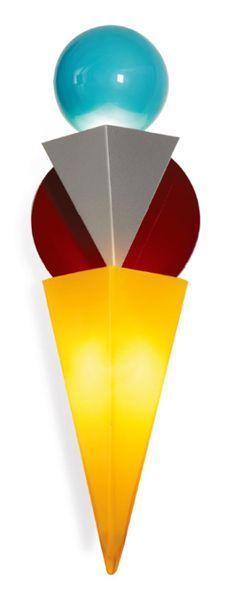 FOSCARINI Lampada da muro in vetro giallo e blu e acciaio a decoro di una mezza sfera...