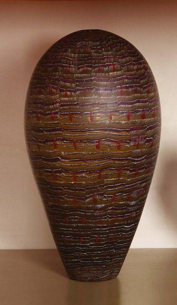 FEURER Vaso conico bombato nella parte superiore con decoro di murrine color ambra,...