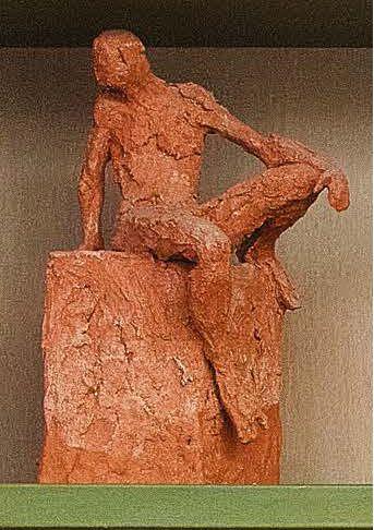 FERDINANDO GIGANTE (Cavallino di Lecce, 1961) Piccolo Atleta a riposo Terracotta...