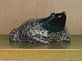 GERNOT SCHLUIFER (XX-XXI SECOLO) Rana in granito in vetro molato multicolore Grenouille....