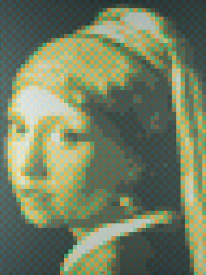 JEAN-PIERRE YVARAL (1934-2002) Vermeer numérisé, 1988 Acrylique sur toile. Signée,...