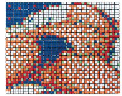 SPACE INVADER (NÉ EN 1969) L'origine du Monde, 2006 Rubicubes collés sur panneau....