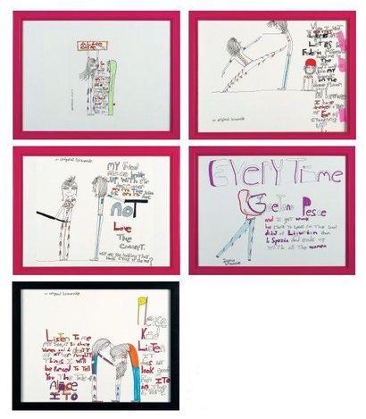 BIZAROÏDE Sans titre Ensemble de cinq dessins à l'encre et feutre sur papier. H_29,7...