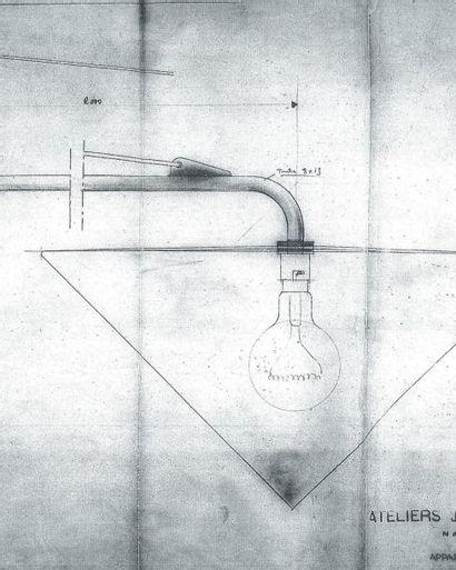 JEAN PROUVÉ (1901-1984) Potence d'éclairage orientable modèle 602 dite « JIB » Métal...