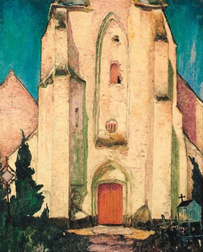 ANTO CARTE (1886-1954) L'église de Knokke, 1921 Technique mixte sur papier. Signée...