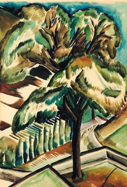OSSIP ZADKINE (1890-1967) L'arbre Gouache sur papier. H_56,5 cm L_41 cm Provenance:...