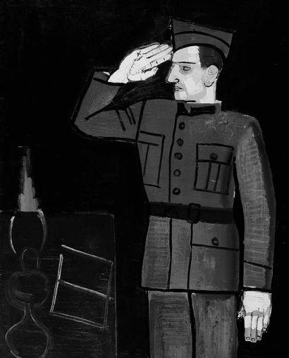 JEAN BRUSSELMANS (1884-1953) Le Soldat, 1933 Huile sur toile. Le modèle de ce tableau...