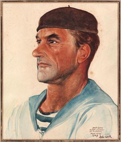 ANTO CARTE (1886-1954) Portrait de marin Aquarelle sur papier. Signée en bas à droite....